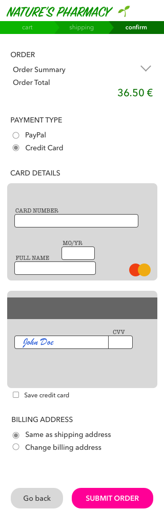 DailyUI 002 - Checkout form mockup
